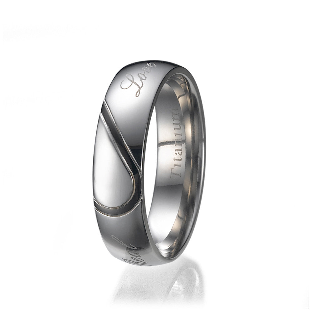 "6mm Mens Half Heart Comfort Fit Titanium Wedding Band Ring ""Real Love"" Sizes 9 to 13"
