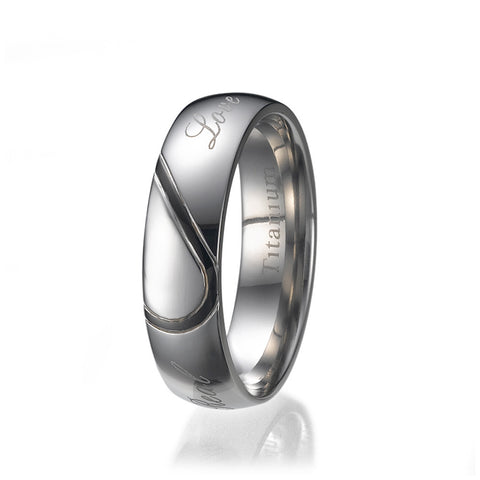6mm Mens Half Heart Comfort Fit Titanium Wedding Band Ring