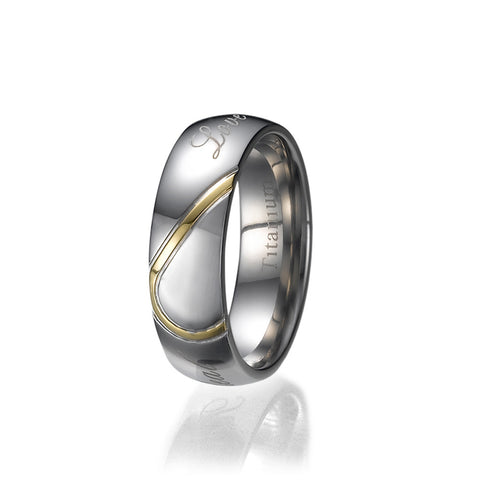 6mm Unisex Half Heart Comfort Fit Titanium Wedding Band Ring