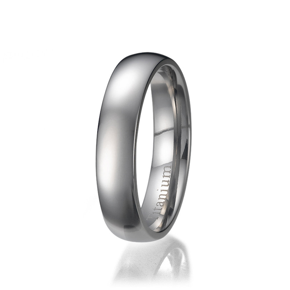 5mm Men's Plain Titanium Ring/ Wedding Band Sizes 9 to 13