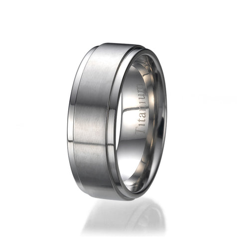 8MM High Polish / Matte Finish Men's Titanium Ring Wedding Band Sizes 9 to 13