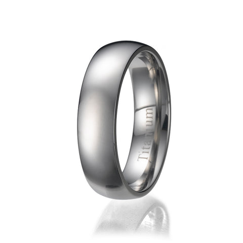 6mm Men's Plain Titanium Ring/ Wedding Band Sizes 9 to 13