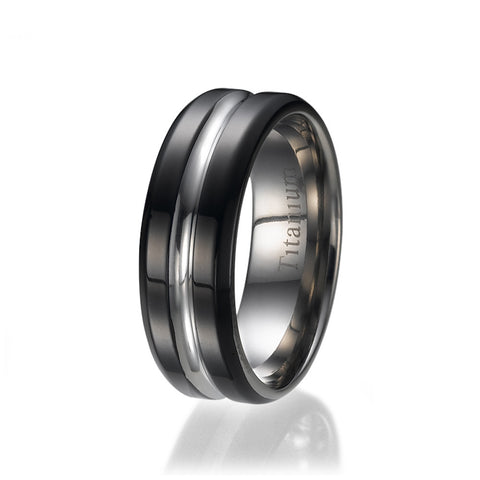 8mm High Polish Black Unisex Titanium Wedding Ring Sizes 9 to 13