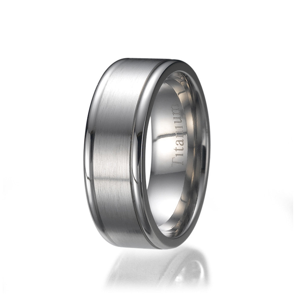 8mm High Matte / Polish Unisex Titanium Wedding Ring Sizes 9 to 13