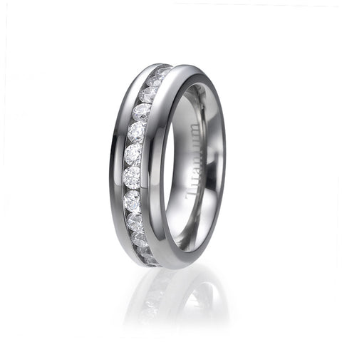 6mm Eternity CZ Set Titanium Wedding Ring Sizes 5.5 to 9.5