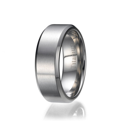 8mm Titanium Ring Wedding Band Design Comfort Fit Brushed and Polished Striped Sizes 9 to 13