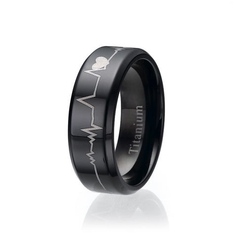 8mm Black Comfort Fit Heart Bit Titanium Wedding Band Ring Sizes 9 to 13