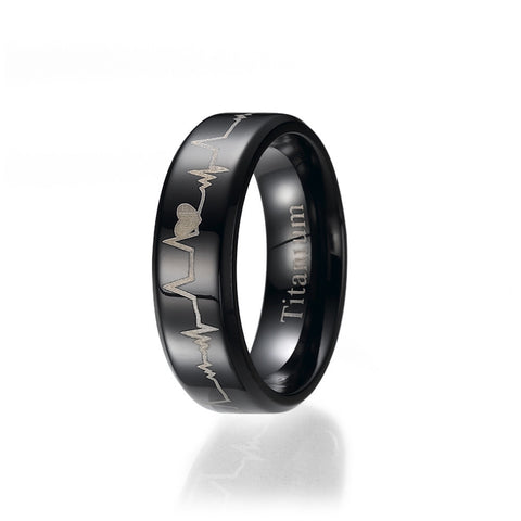 6mm Black Comfort Fit Heart Bit Titanium Wedding Band Ring Sizes 5.5 to 9.5