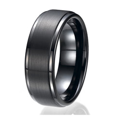 8MM Flat Top Two Tone Black Tungsten Ring Wedding Band Sizes 9 to 13