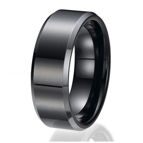 8MM Black High Polish Finish Men's Tungsten Ring Wedding Band Sizes 9 to 13