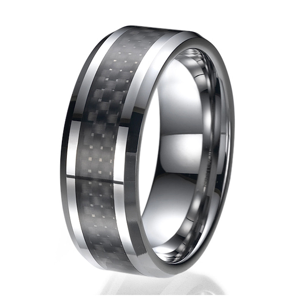8mm Men's Tungsten Ring/ Wedding Band with Carbon Fiber Inlay Sizes 9 to 13