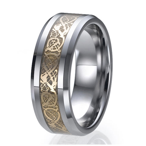 8mm Tungsten Celtic Dragon Gold Inlay Flat Comfort Fit Wedding Band Ring Sizes 9 to 13