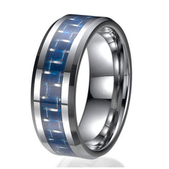 8mm Tungsten Blue Carbon Fiber Mens Wedding Ring Engagement Bands Sizes 9 to 13