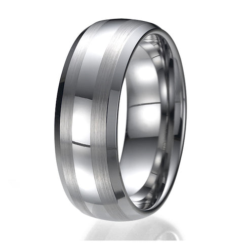 8mm Men's Tungsten Carbide Ring Wedding Band Sizes 9 to 13
