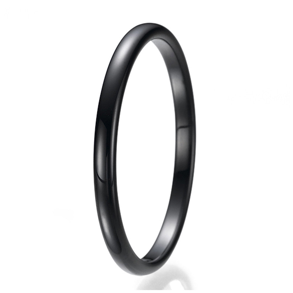 2mm Black High Polish Unisex Tungsten Wedding Ring Sizes 9 to 13