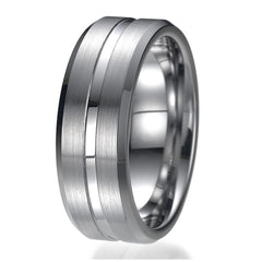 8mm Tungsten Ring Wedding Band Design Comfort Fit Brushed and Polished Striped Sizes 9 to 13