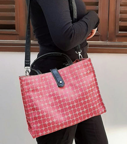 KATE SPADE PINK CANVAS GEOMETRIC PRINT TOTE
