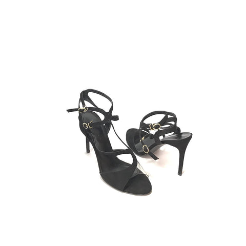 CHARLES & KEITH BLACK & CLEAR STRAPPY HEELS