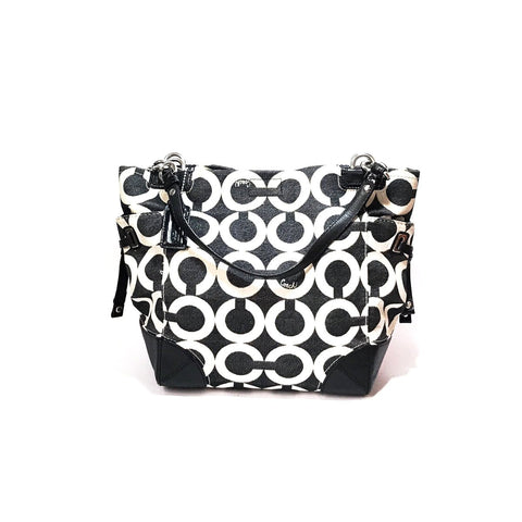 COACH MONOGRAM BLACK & WHITE MONOGRAM SHOULDER BAG
