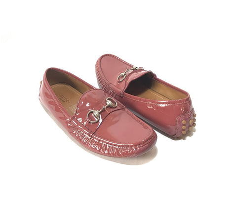 Gucci Pink Patent Leather Horsebit Loafers