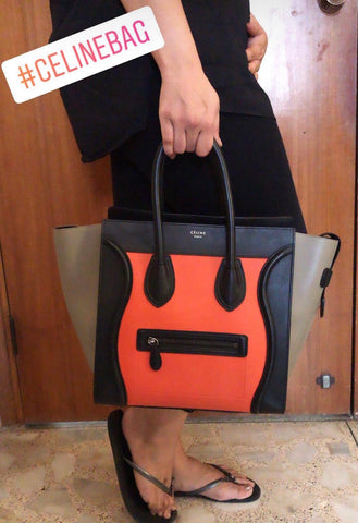 CELINE ORANGE TRICOLOR LUGGAGE MEDIUM TOTE