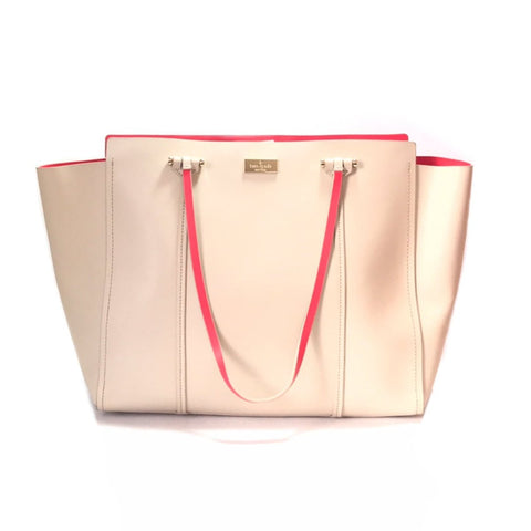 KATE SPADE BEIGE LARGE LEATHER TOTE
