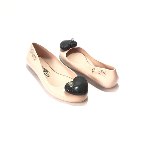 Melissa X Jeremy Scott Blush Pink with Black Balloon Heart Ballet Flats