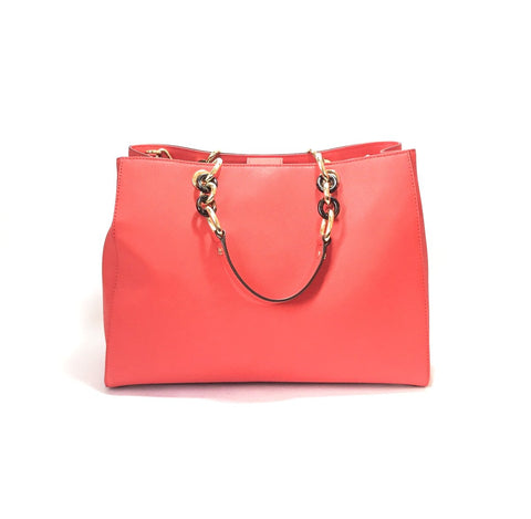 MICHAEL KORS 'CYNTHIA' CORAL LEATHER SATCHEL