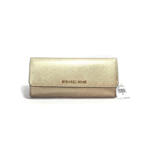 MICHAEL KORS JET SET PALE GOLD FLAT WALLET