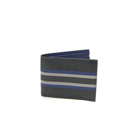 SALVATORE FERRAGAMO BLACK WITH NAVY & GREY STRIPE MEN'S LEATHER WALLET