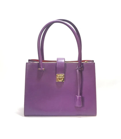 Salvatore Ferragamo Purple Leather Tote Bag