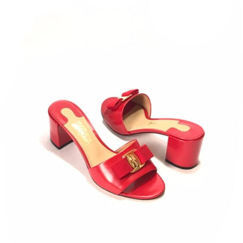 SALVATORE FERRAGAMO 'EOLIE' RED BLOCK HEELS