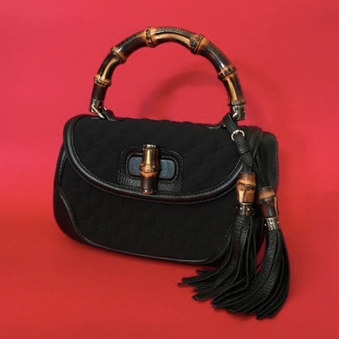 GUCCI MONOGRAM BLACK BAMBOO TOP & CHAIN BAG