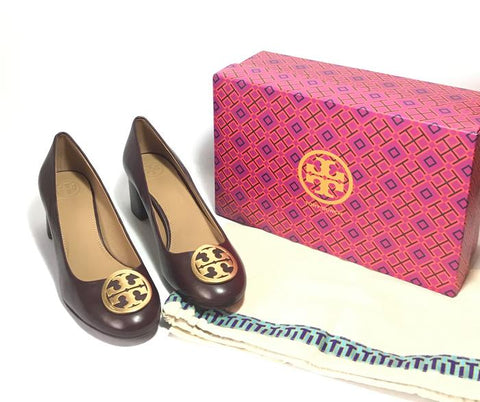 Tory Burch BENTON 50MM MALBEC LEATHER PUMPS