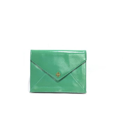 TORY BURCH 'ROBINSON' PATENT LEATHER ENVELOPE CLUTCH