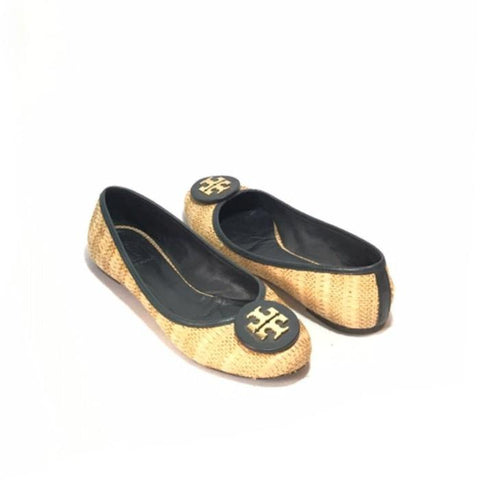 TORY BURCH JUTE & BLACK LEATHER BALLET FLATS