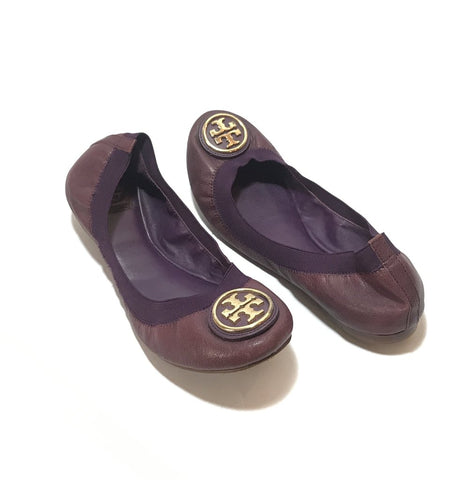 Tory Burch Purple Leather REVA Elastic Ballet Flats