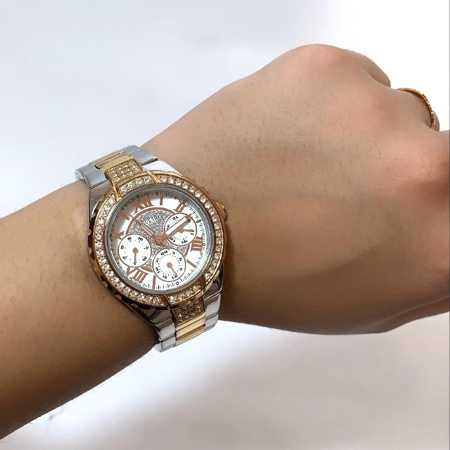 Guess Two-Toned Rhinestone Bracelet Watch | Pre Loved |