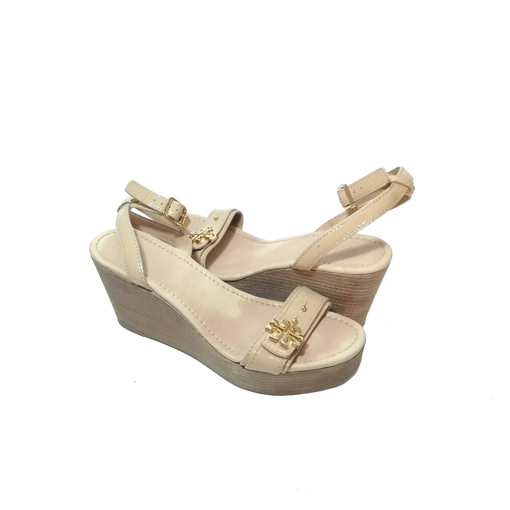 Tory Burch Beige Patent Wedges