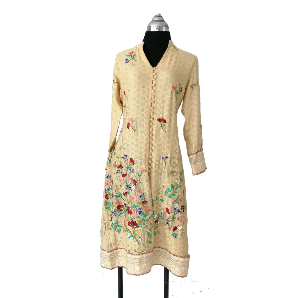 Sania Maskatiya Yellow Hand Embroidered Kameez & Dupatta | Gently Used |