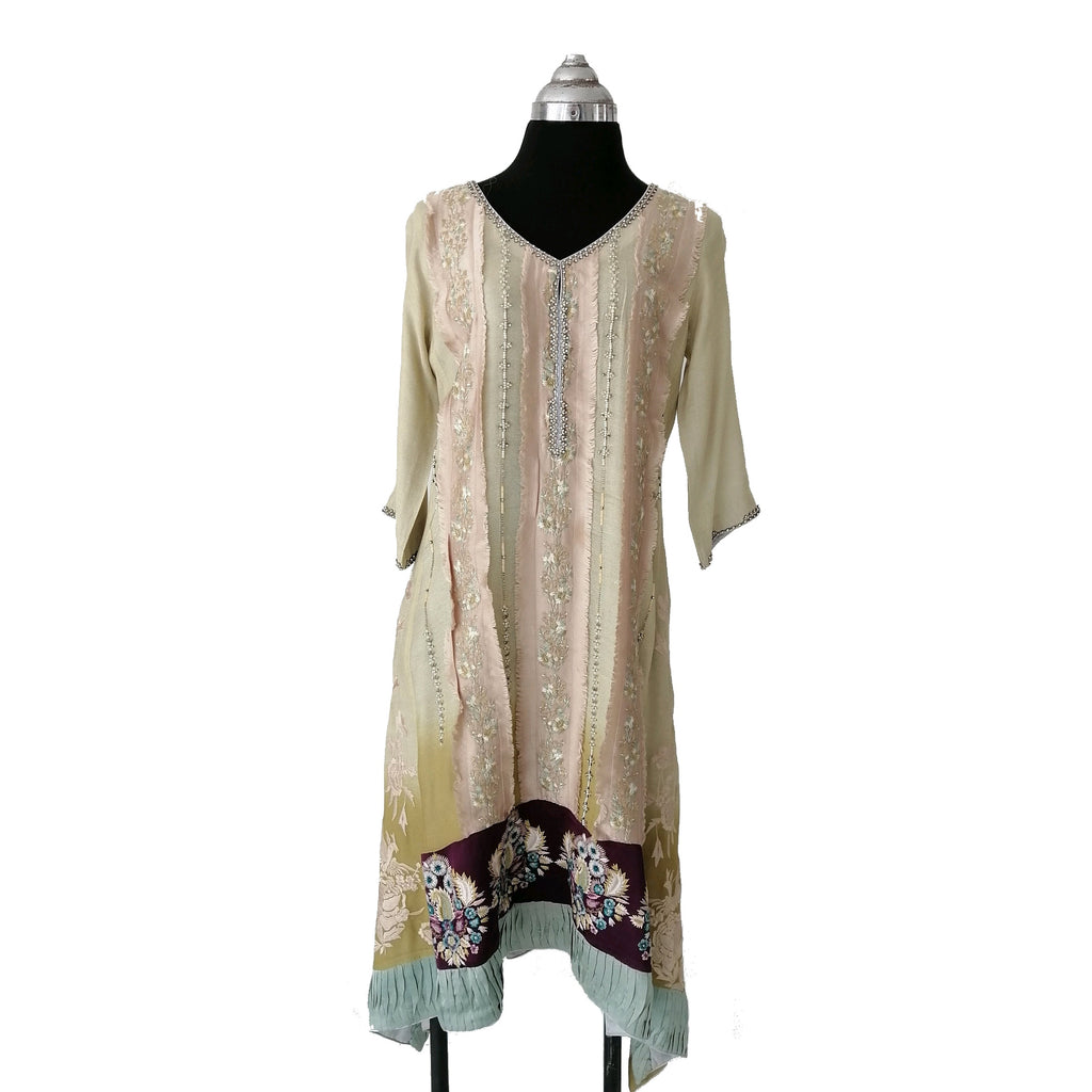 Sana Safinaz Green & Beige Outfit | 2 Pcs.| | Pre Loved |