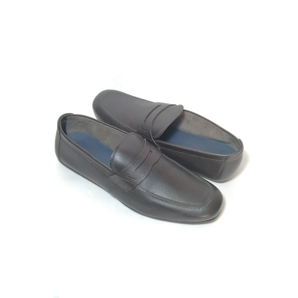 Salvatore Ferragamo Hickory Pebble Calf Loafers