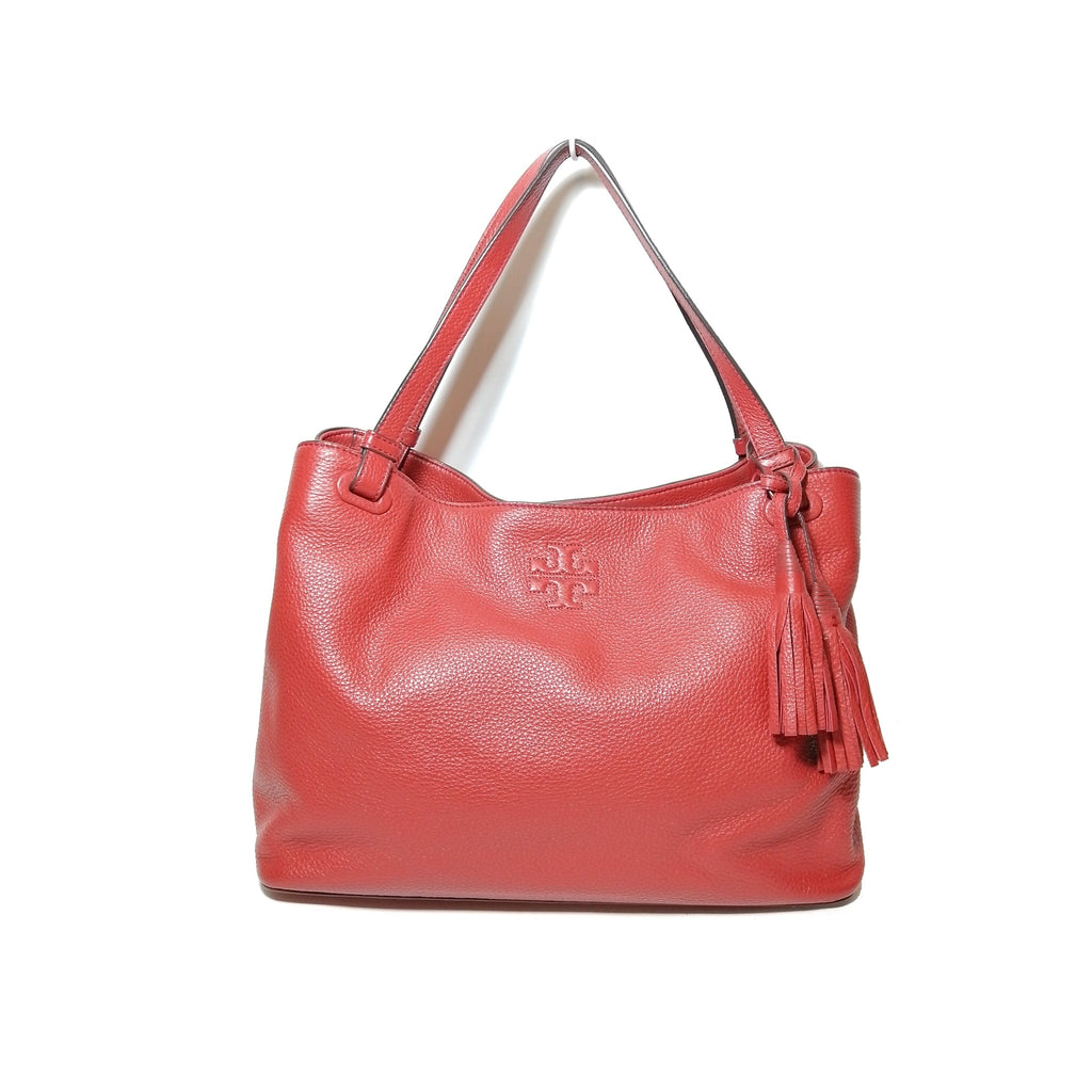 Tory Burch Red Pebbled Leather Tote