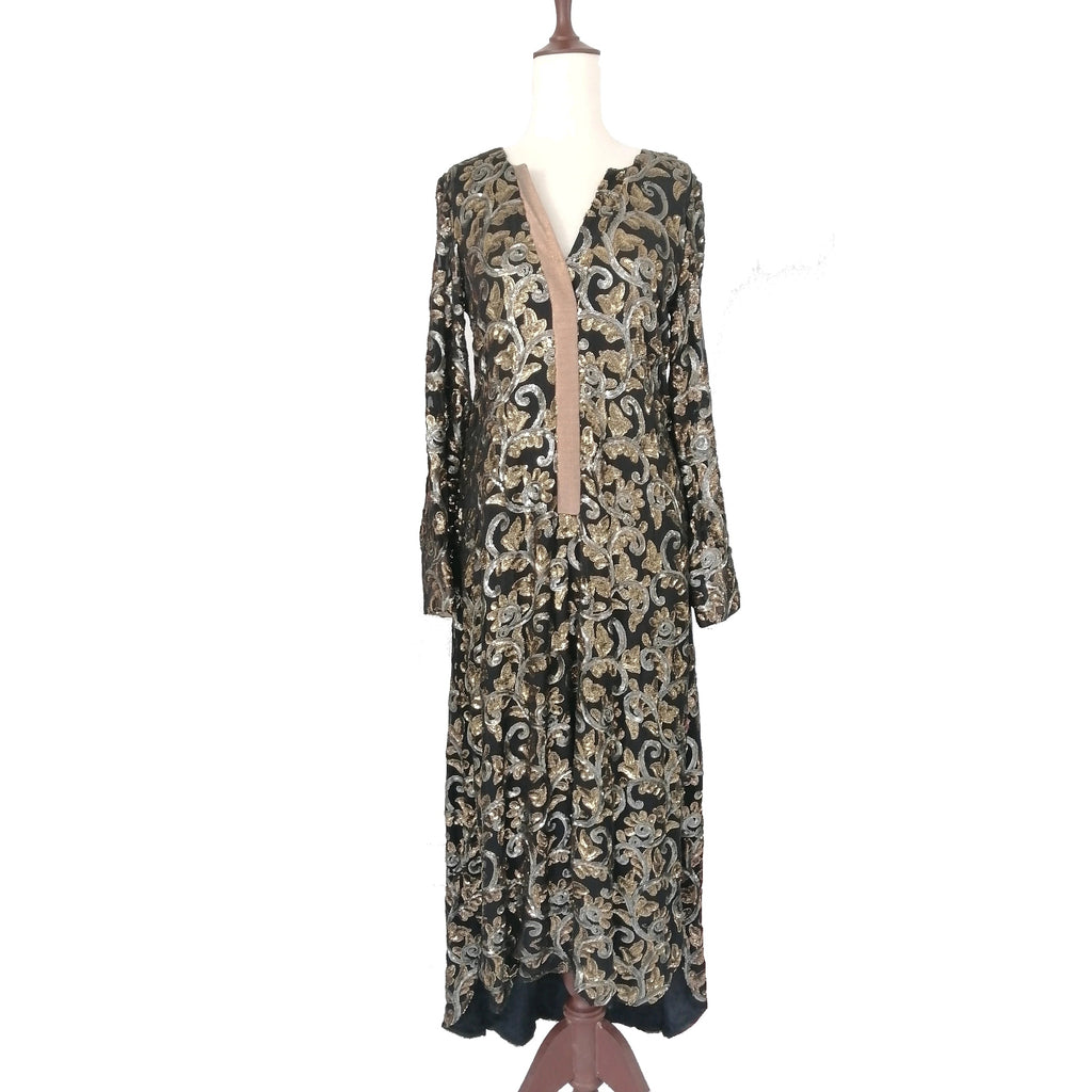 Sania Maskatiya Net Black & Gold Kaftan | Gently Used |
