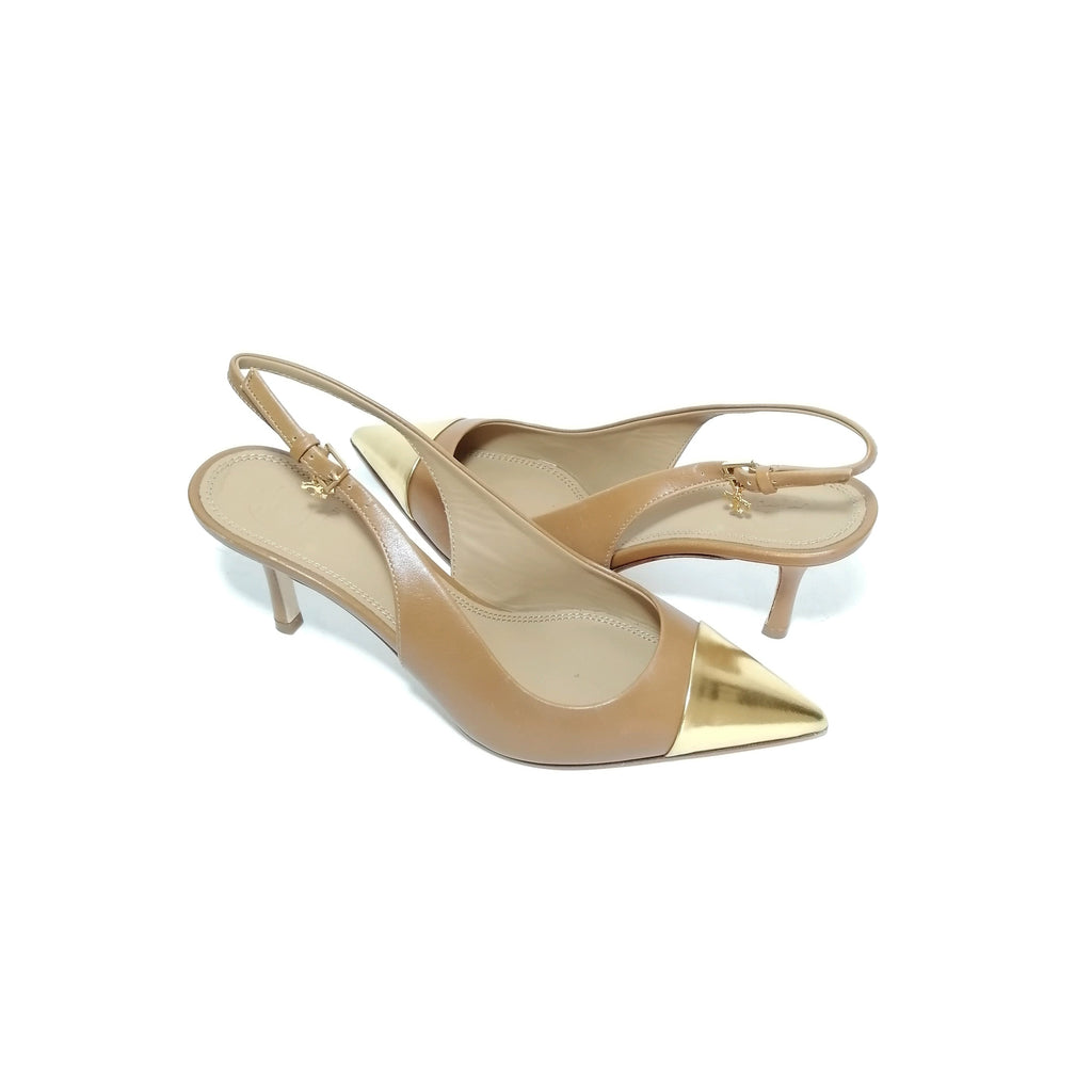 Tory Burch Penelope Metallic Cap-toe Sling Back Heels