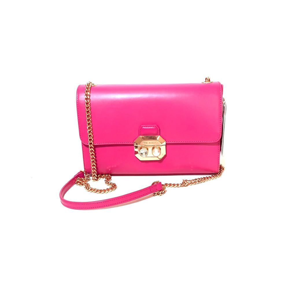 Ted Baker Fuschia Leather Crossbody Bag | Pre Loved |