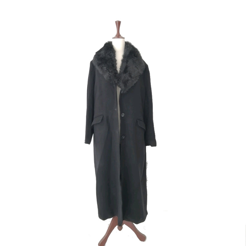 Marks & Spencer Black Fur Neckline Coat | Gently Used |