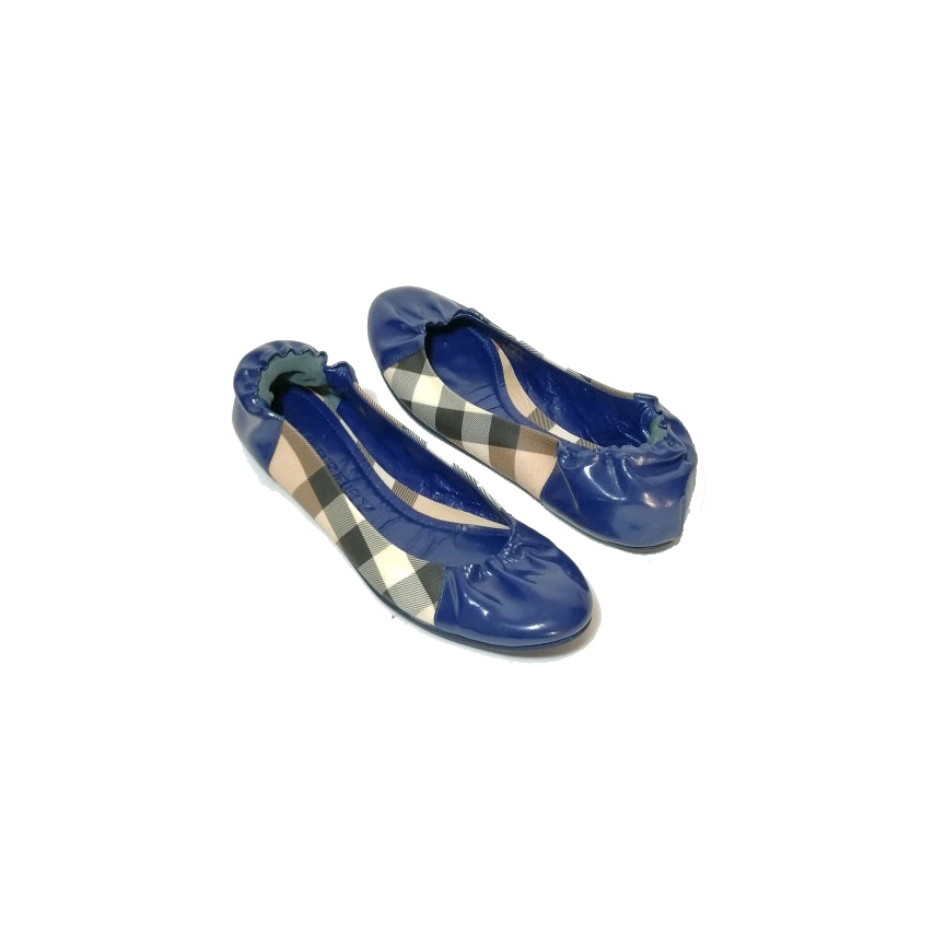 Burberry Navy Patent Leather & Haymarket Check Ballet Flats | Pre Loved |