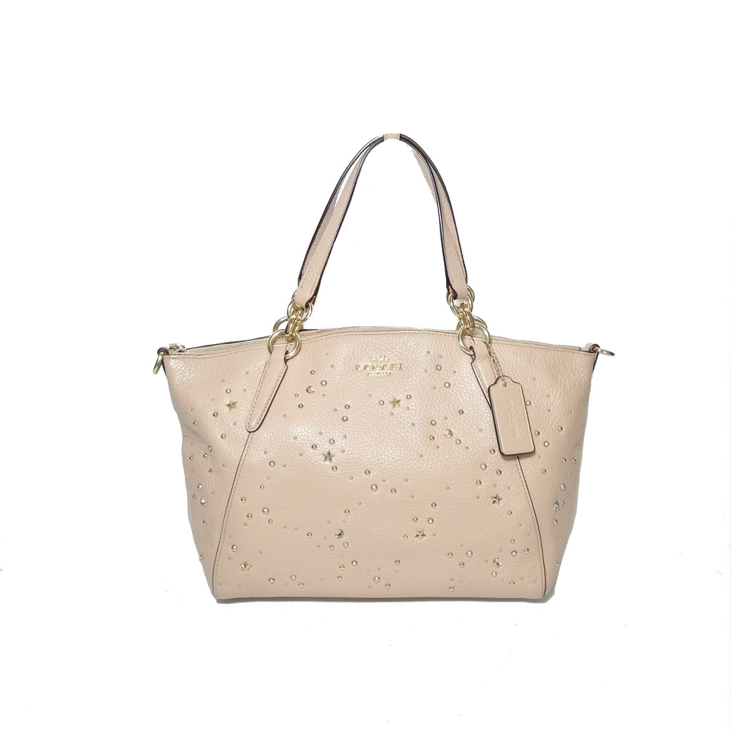 Coach Peach Leather Kelsey Embellished Satchel