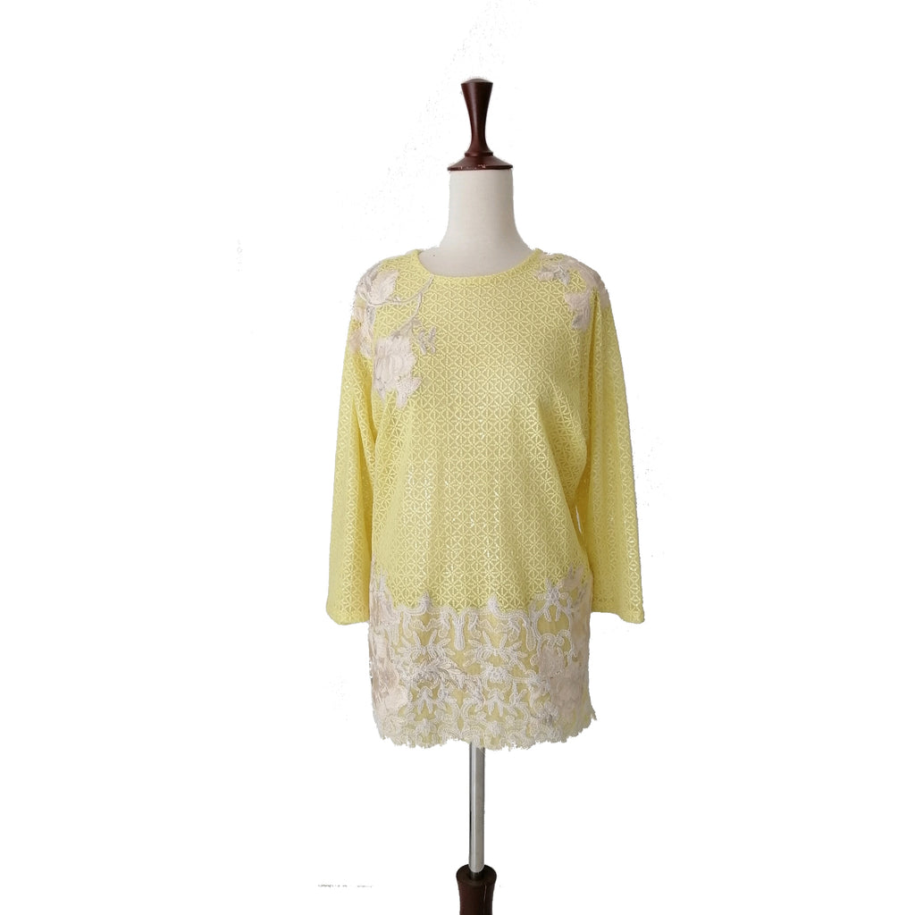 Sana Safinaz Yellow Net Floral Tunic | Gently Used |